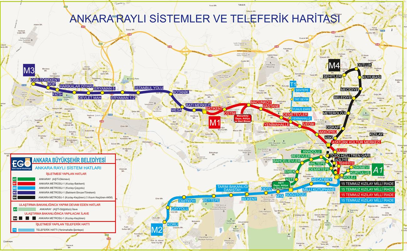 Ankara Metro - raylı sistem ve teleferik haritası